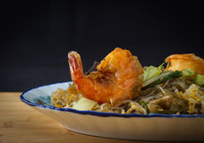 Asia Glass noodles with red prawn and vegetables Stock Photo