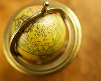 Asia on a globe. Close-up of a vintage globe Stock Images
