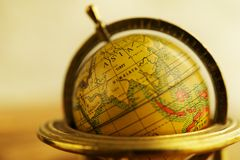 Asia on a globe. Close-up of a vintage globe Stock Photos