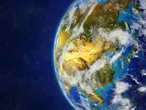 Asia on globe with borders. Asia from space on model of planet Earth with country borders and very detailed planet surface and clouds. 3D illustration. Elements royalty free illustration
