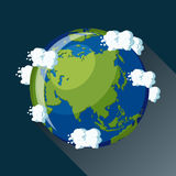 Asia globe icon. Asia map on planet Earth, view from space. Asia globe icon. Planet Earth globe map with blue ocean, green continents and clouds around. Cartoon Royalty Free Stock Photos