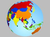 Asia globe map. With the country in different colors stock illustration