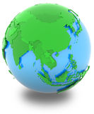 Asia on the globe. Asia, political map of the world with countries in different shades of green,  on white background Stock Images