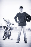 Asia handsome man biker call telephone on the motorcycle Stock Photo