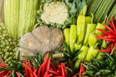 Asia home-grown vegetables in the basket, Healthy vegetables.Tha. Iland Stock Photos