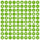 100 Asia icons hexagon green Stock Photography