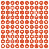 100 Asia icons hexagon orange Stock Image