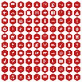 100 Asia icons hexagon red. 100 Asia icons set in red hexagon isolated vector illustration Stock Photo