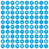 100 Asia icons set blue. 100 Asia icons set in blue hexagon isolated vector illustration Royalty Free Stock Images