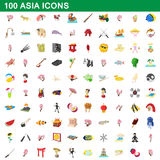 100 asia icons set, cartoon style. 100 asia icons set in cartoon style for any design vector illustration Royalty Free Stock Photos