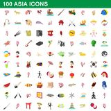 100 asia icons set, cartoon style. 100 asia icons set in cartoon style for any design illustration royalty free illustration