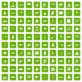 100 Asia icons set grunge green. 100 Asia icons set in grunge style green color isolated on white background vector illustration Stock Photo