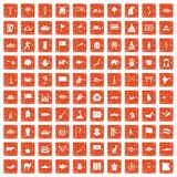 100 Asia icons set grunge orange. 100 Asia icons set in grunge style orange color isolated on white background vector illustration Stock Image