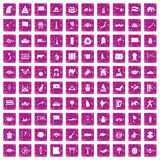 100 Asia icons set grunge pink. 100 Asia icons set in grunge style pink color isolated on white background vector illustration Royalty Free Stock Image