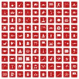 100 Asia icons set grunge red. 100 Asia icons set in grunge style red color isolated on white background vector illustration Royalty Free Stock Image