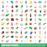 100 asia icons set, isometric 3d style Royalty Free Stock Images