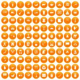 100 Asia icons set orange. 100 Asia icons set in orange circle isolated on white vector illustration Vector Illustration