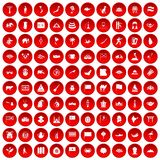 100 Asia icons set red. 100 Asia icons set in red circle isolated on white vector illustration Royalty Free Stock Photography