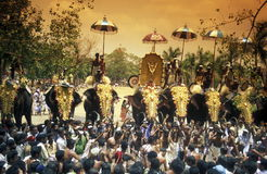 ASIA INDIA KERALA. The Elephants at the Pooram Festival in Thrissur in the province of Kerala in India Royalty Free Stock Image