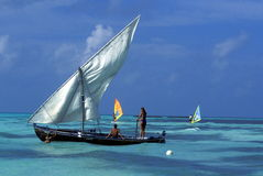 ASIA INDIAN OCEAN MALDIVES DHONI BOAT Royalty Free Stock Photo