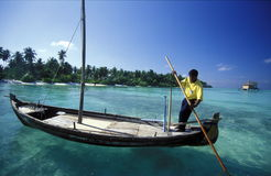ASIA INDIAN OCEAN MALDIVES DHONI BOAT Royalty Free Stock Images