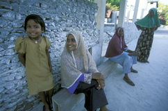 ASIA INDIAN OCEAN MALDIVES PEOPLE VILLAGE Stock Photo