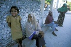 ASIA INDIAN OCEAN MALDIVES PEOPLE VILLAGE Stock Photo