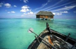 ASIA INDIAN OCEAN MALDIVES SEASCAPE BUNGALOW Stock Image