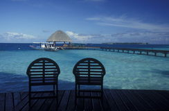 ASIA INDIAN OCEAN MALDIVES SEASCAPE BUNGALOW Royalty Free Stock Photos
