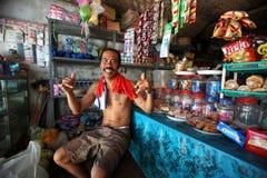 ASIA INDONESIA BALI NUSA LEMBONGAN VILLAGE SHOP PEOPLE Royalty Free Stock Images