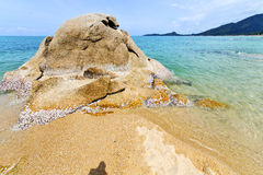 Asia isle white beach in south china sea kho samui. Asia kho tao bay isle white beach rocks in thailand and south china sea royalty free stock images