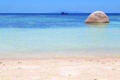 Asia  kho tao  bay isle white  beach    rocks pirogue Royalty Free Stock Images
