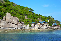 Asia kho tao   rocks house boat in thailand Royalty Free Stock Images
