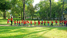 Asia kid activity team building. HO CHI MINH, VIETNAM- AUG 16: Extracurricular activity of preschool education, kid in team building at green park of Royalty Free Stock Photography