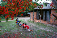 Asia kid, summertime, Vietnamese children. BA RIA- VIET NAM- JUNE16: Group of Asia kid playing at courtyard of house, outdoor activity on summertime, red summer royalty free stock images