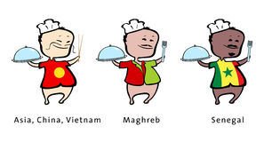 asia kockmaghreb restaurang senegal stock illustrationer