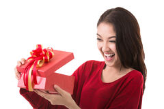 Asia lady open gift box Stock Photos