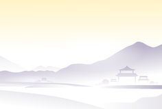 Asia landscape china village mountain vector Stock Photography