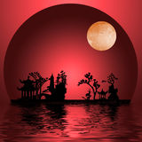 Asia Landscape. Red Asia Landscape with Moon Stock Photo