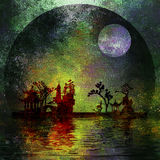 Asia Landscape Textured Painting. With Moon Royalty Free Stock Photos