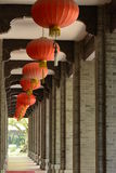 A red lantern row. A row of Asian red lantern hanging high Royalty Free Stock Photo