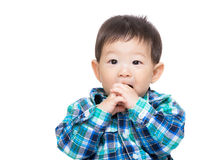 Asia little boy bite finger Stock Photography