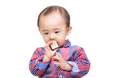 Asia little boy bite toy block Royalty Free Stock Photo