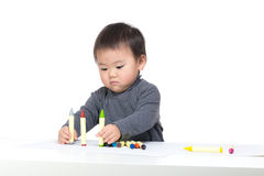 Asia little boy drawing Royalty Free Stock Photography