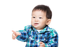 Asia little boy finger pointing front. Isolated on white Royalty Free Stock Photography