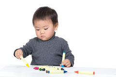 Asia little boy focus on drawing Stock Photo