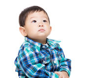 Asia little boy looking up. Isolated on white Royalty Free Stock Photos