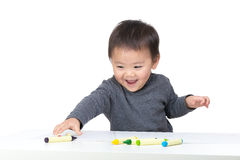 Asia little boy love drawing Stock Photo
