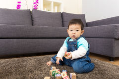 Asia little boy play toy block Royalty Free Stock Photo