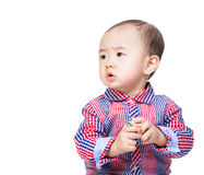 Asia little boy play with toy block Royalty Free Stock Photos
